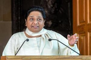 BSP supremo Mayawati addresses a press conference at her residence in Lucknow on Saturday.