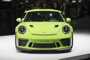 The Porsche 991 GT3 RS automobile sits on display on the opening day of the 88th Geneva International Motor Show in Geneva on March 6, 2018.
