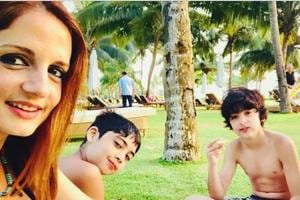 Hrithik Roshan's ex-wife Sussanne Khan took a spring vacation with sons Hrehaan and Hridhaan.