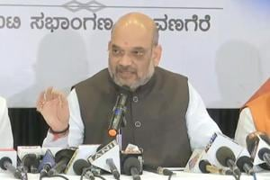 BJP national president Amit Shah addresses a press conference after the announcement of the poll dates for the Karnataka assembly election, in Davangere on Tuesday.
