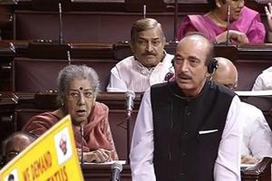 Leader of Opposition Ghulam Nabi Azad speaks in the Rajya Sabha during the budget session of Parliament, in New Delhi on Tuesday.