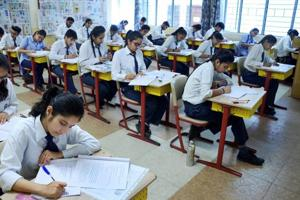 Students write their CBSE board exams in a Gurgaon  school.
