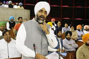 Punjab finance minister Manpreet Singh Badal replying to the debate on the budget in the state assembly in Chandigarh on Wednesday.