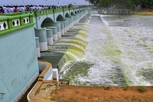 Cauvery river flowing in to Kallanai Dam in Tiruchirapalli district of Tamil Nadu. The Supreme Court increased Karnataka's share of water and directed the state to release 177.25 tmc to Tamil Nadu on February 16.