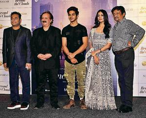 Goutam Ghose with AR Rehman, Majid Majidi, Ishaan Khattar, Malavika Mohanan at the trailer launch of Beyond The Clouds in Mumbai.