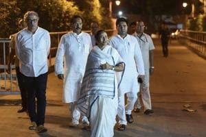 West Bengal CMMamata Banerjee leaves after meeting Congress leader Sonia Gandhi at her residence in New Delhi  on March 28, 2018.