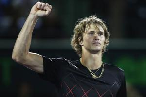 Alexander Zverev celebrates after his straight sets victory against Borna Coric at the Miami Open tennis tournament.