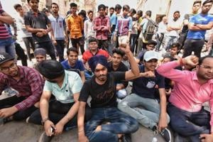 CBSE paper leak: Students protest outside board's office in Delhi on...