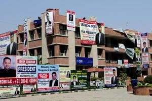 Candidates in the fray for different posts of the Bar have put up posters at the district courts complex in Chandigarh onFriday.