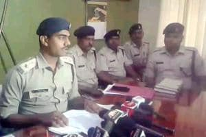 Chatra district police chief Akhilesh B Verior  addresses a press conference in Chatra on Saturday.
