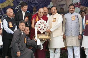 Tibetan spiritual leader the Dalai Lama, Union minister Mahesh Sharma  and BJP's Ram Madhav, among others, at the Thank You India function at Tsugla Khang Temple in Mcleodganj, Dharamshala, on Saturday.