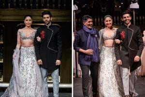Manish Malhotra with Kareena Kapoor Khan and Kartik Aaryan at his Summer Couture 2018 show in Singapore.