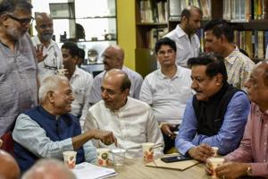 BJP leader Yashwant Sinha along with others at the meet on Saturday in Mumbai.