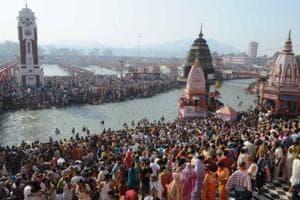 Lakhs of devotees  throng the banks of the Ganga during Kumbh Mela at Haridwar.