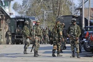 Army soldiers during a gunbattle between militants and security forces in Shopian,south Kashmir.