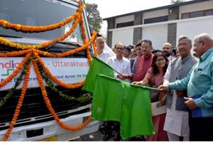 Chief minister Trivendra Singh Rawat  flags off 'Uttarakhand Startup Yatra' at his official residence in Dehradun on Monday.