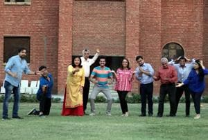 Actors from different age groups rehearse for the play Mera Pati Salman Khan, which will be staged by Navras Theatre Group in Delhi.