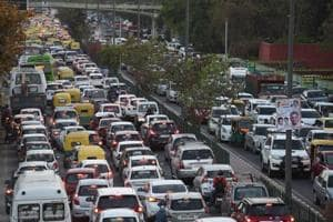 Rush-hour traffic in Delhi, where four persons are killed in road accidents every day.