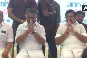 Tamil Nadu chief minister K Palaniswami and deputy chief minister O Panneerselvam begin hunger strike over Cauvery Management Board  issue, in Chennai.