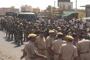 The BSF carried out a march past in various parts of the Barmer city on Tuesday.
