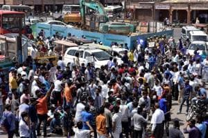 Members of the Dalit community protest during the