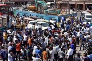 Members of Dalit community stage protest during