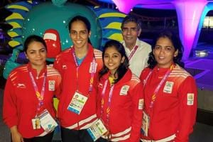 Saina Nehwal's father, Harvir Singh, has now been accommodated at the Commonwealth Games Village in Gold Coast.