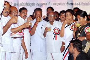 Sumptuous lunch break turns AIADMK's hunger strike into  farce