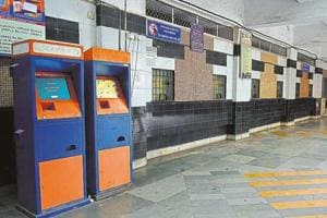 Passengers use these smart-card based machines to book single-journey tickets and monthly pass.