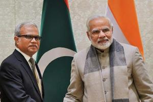 Foreign and special envoy of President of Maldives, Mohamed Asim, with Prime Minister Narendra Modi in New Delhi in January.