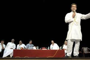 Congress President Rahul Gandhi addresses traders and workers of unorganised sectors in Davanagere, Karnataka on Wednesday.