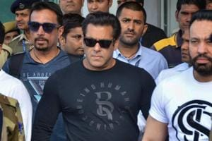 Actor Salman Khan leaves from Jodhpur airport to appear in the chief judicial magistrate court in the 1998 Blackbuck hunting case, in Jodhpur on Wednesday.