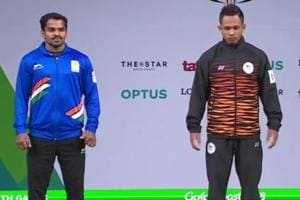 P Gururaja (L)opened India's medal account on the first competition day of the 2018 Commonwealth Games, claiming a silver in the men's 56kg category.