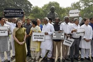 Congress-led opposition stages protest over Andhra special status,...