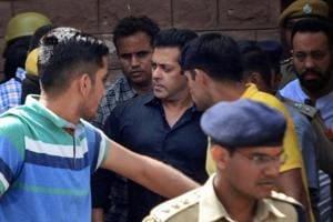 Bollywood actor Salman Khan is taken away from the court after he was awarded five years in jail in a poaching case, in Jodhpur on Thursday.