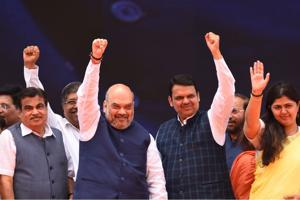 (LtoR) Top BJPleaders Nitin Gadkari, Amit Shah, Devendra Fadnavis, Pankaja Munde at the rally in Mumbai on Friday.