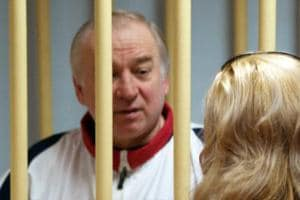 In this file photo taken on August 09, 2006, former Russian military intelligence colonel Sergei Skripal attends a hearing at the Moscow District Military Court in Moscow.