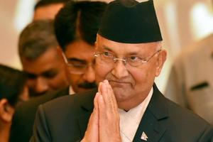 Nepal's Prime Minister KP Oli during a meeting with Indian industrialists in New Delhi on Friday.