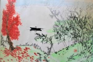 A Chinese watercolour painting by artist Nandita Bhattacharya.