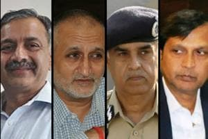 DGP (HRD) S Chattopadhyaya, ADGP Harpreet Sidhu appear to be on one side; DGP Suresh Arora and DGP(Intel) Dinkar Gupta on the other.