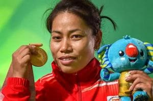 Sanjita Chanu won the gold medal in women's 53kg weightlifting to add...