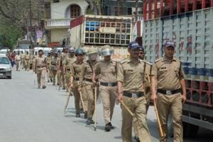 Police took out flag march in Augustmuni on Saturday after Section 144 of CrPC was enforced on Friday night.