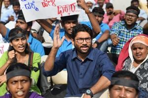 Dalit leader and independent legislator from Gujarat, Jignesh Mevani, during a protest in Bengaluru.
