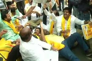 TDP MPs protest near PM's residence over Andhra special status,...