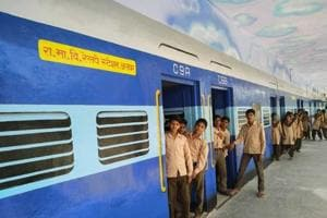 The classrooms have been painted like passenger compartments, the principal's office looks like an engine and the veranda is the platform, where students hang out.