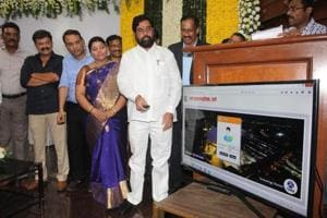Thane guardian minister Eknath Shinde inaugurates the property tax app at TMC headquarters on Saturday.