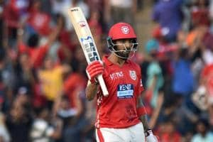 Kings XI Punjab (KXIP) player KL Rahul celebrates his half century against Delhi Daredevils (DD) during an Indian Premier League (IPL) match at the IS Bindra Stadium in Mohali on Sunday.