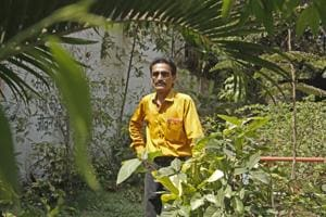 Balaram Shirishkar, 52, has taken it upon himself to develop more green zones within the workshop area.