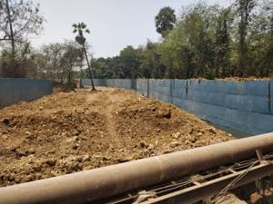 BMC, which is building the wall, said it is carrying out 'beautification work' that will not affect the river's natural flow.