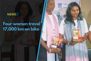 Four women bikers who successfully completed 'Road to Mekong,' a...